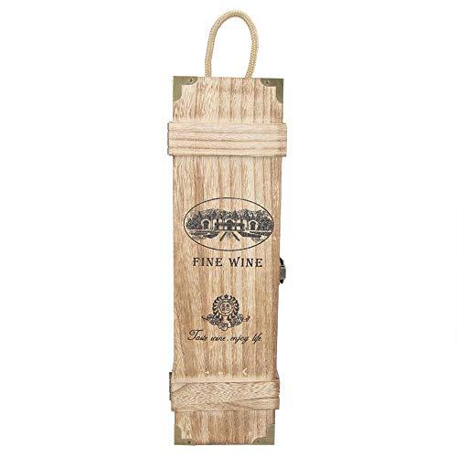Caja de Almacenamiento de Vino, Caja de Vino de Madera, Botella de Vino Individual Caja de Regalo de Almacenamiento de Madera, Caja de presentación de Vino Retro Vintage