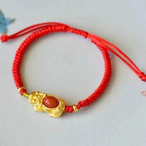GZMUS Feng Shui Pixiu Pulsera La Riqueza del Sur La Ágata Roja Pulsera Buda Beads Pixiu/Piyao Amuleto Cadena Roja Braides Pulsera Lucky Chinese Regalos para