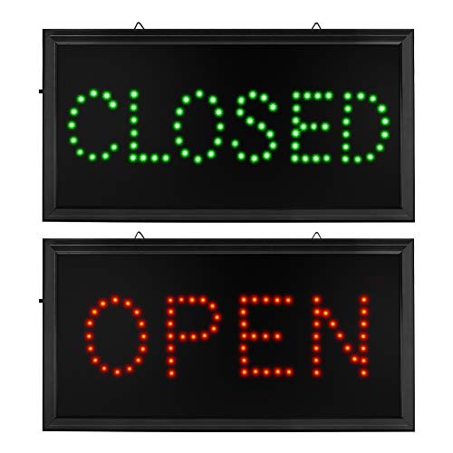 Open Closed Signs for Business - Led Open Closed Sign - Motion Light Sign with US Plug and On/Off Switch - Great for Bar, Coffee Shop, Pizza Store, Restaurant, Hotel, ATM and Party (Open Closed)