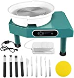 Updated 350W Pottery Wheel Machine 25CM with LCD Touch Control Screen Ceramic Machine with Removable Basin and Pedal 10 Pcs Clay Sculpting Tools for Ceramic Work Clay Art Craft (Blue)