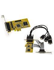 Kalea-Informatique–Tarjeta controladora PCI Express (PCIe) serie RS232y paralelo–4puertos COM RS-232DB9+ 1puerto LPT IEEE1284DB25–Chipset Sunix SUN1999(mio5499a)–gama Industrial