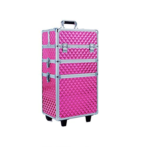 Extra Large Trolley Vanity Make-up Case Kosmetikkoffer Nail Friseur Etui Jewelry Storage Organizer Box abnehmbare 3 in 1 Beauty Trolley Case (Rose Red)