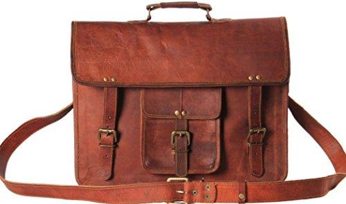 "handmadecart Piel Natural Messenger Bag (para 16""MacBook, ordenador portátil o cualquier tablet) Satchel, maletín bolso de escuela"