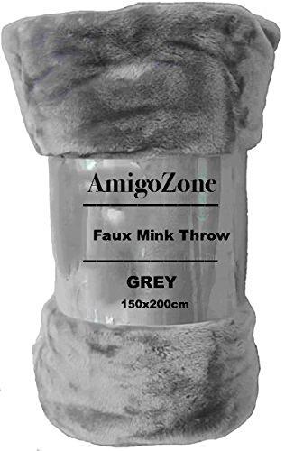 AmigoZone Soft Faux Fake Fur Mink Throw Sofa Bed Blanket (Silver Grey, King)