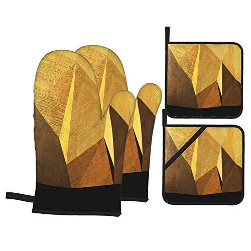 Juego de 4 Guantes y Porta ollas para Horno Resistentes al Calor Espacio Triangular Abstracto Hecho Bloques de hormigón para Hornear en la Cocina,microondas,Barbacoa