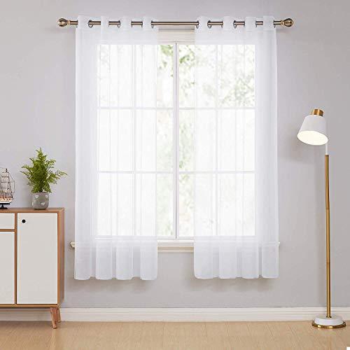 Deconovo 2er Set Ösenvorhang Transparent Vorhang Gardine Voile 183x140 cm Weiß, Stoff, 183x140
