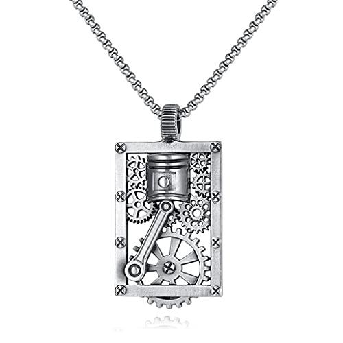 NDYD Pure Tin Steampunk Hollow Square Brand Gear Piston Colgante Hip Hop Retro Amuleto Collar con Embalaje Exquisito