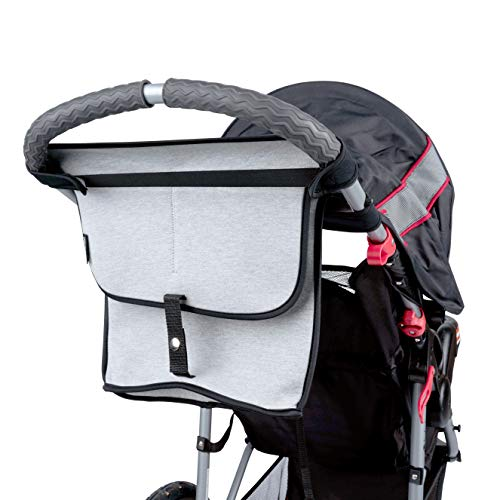 Stroller Organizer by Modfamily -Neoprene Bag with Zipper Storage Space and Two Cup Holders- Fits Umbrella and Single Strollers