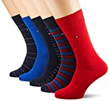 Tommy Hilfiger TH MEN SHARP STRIPES GIFTBOX 5P Chaussettes, Bleu (Tommy Original 085), 39/42 (Taille fabricant:039) (lot de 5) Homme