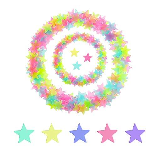 Luminoso Pegatinas, Pegatinas Pared Estrellas Brillantes Autoadhesivo, Luminoso Pegatinas Decoración Cuarto Sala Partido, Energía Solar Iluminar, Luminoso Pegatinas Para Chico Niña Bebé, 3cm
