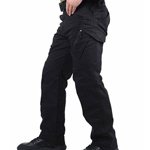 Reebow Gear Pantaloni tattici militari, da uomo, senza cintura, per combattimento, lotta, sport all'aria aperta, uomo, nero, XXL