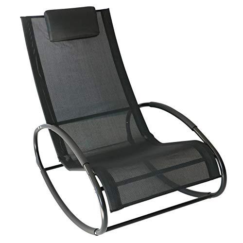 sedie da giardino acciaio Outsunny Sedia a Dondolo da Giardino Telaio in Acciaio Rivestimento in Textilene 105x62x88cm Nero