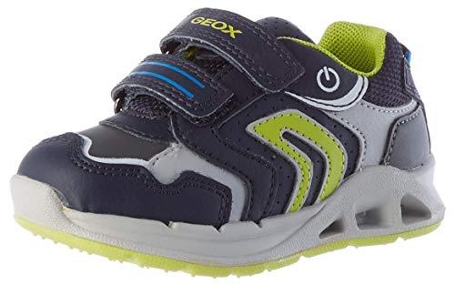 Geox B Dakin Boy A Sneaker, Navy/Lime, 25 EU