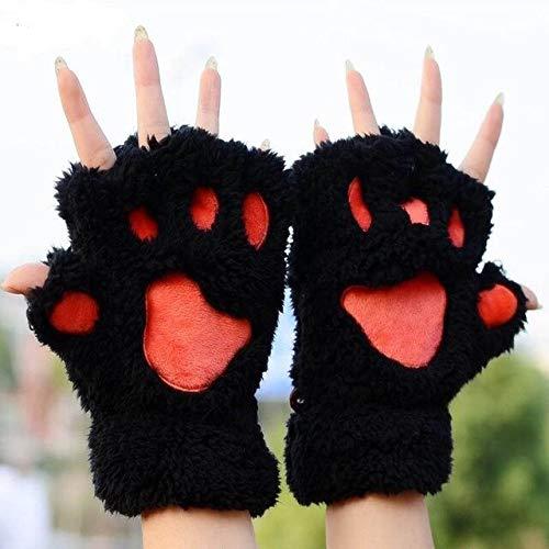 Guantes de Felpa con Garra de Gato Bonitos para Mujer, Guantes mullidos Cortos sin Dedos clidos y Suaves, Disfraz de Medio Dedo, Negro, Beige-Black