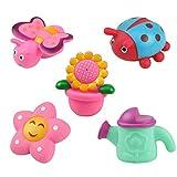 De feuilles 5 Neuheit Kinder Bad Spritzspielzeug für Badewanne Gummifiguren zum Wasser Spritzen für Baby ab 0 Monate Säugling Set in Geschenkbox