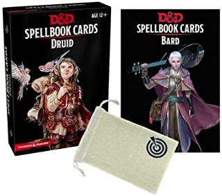 D&D: Spellbook Cards Bundle Including Bard Spellbook Deck and Druid Spellbook Deck by Gale Force Nine and Drawstring Bag with luckyshot Logo (3 Items)
