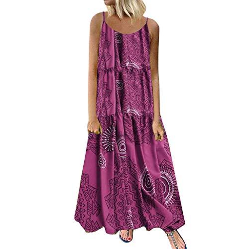 ABsoar Damen Plus Größe Freizeitkleid Frauen Mode Lose Druck Langes Maxi Kleid Lagenkleid A-Linie Swing Kleid Elegent Abendkleider Partykleid Tunikakleid