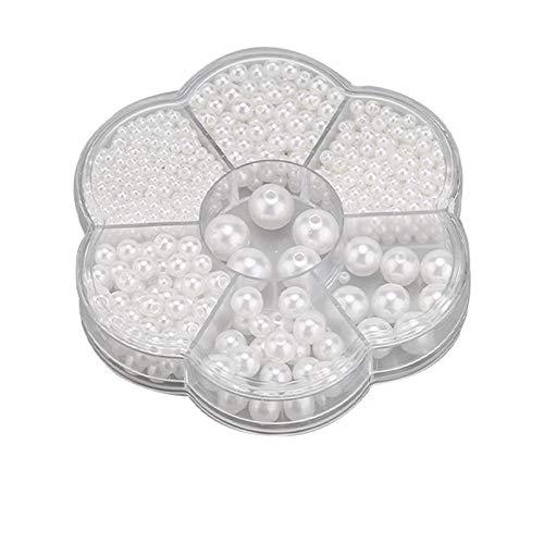 SAVITA 1150 Piezas 3/4/5/6/8/10/12mm Perlas Redondas Blancas Perlas Espaciadoras Sueltas de Satén para Manualidades Collares pulseras Pendientes Anillos Fabricación de Joyas