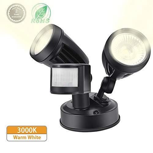 LED Strahler mit Bewegungsmelder,Comaie 30W Dual Kopf Lampe mit Bewegungsmelder Aussen 2700 lm Superhell LED Fluter IP54 Wasserdicht Außenstrahler Flutlichtstrahler Scheinwerfer Licht (Warmweiß)