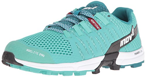 Inov-8 Women's Roclite 290 Trail Runner, Teal/Black/White, 8 D US