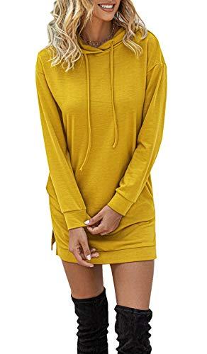ZIYYOOHY Damen Kapuzenpullover Pulli Hoodie Kleid Lippen Langrm Herbst Mini Kleid mit Tasche (Einfarbig-gelb, L)