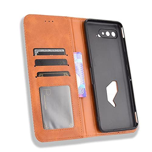 MingMing Lederhülle für Asus ROG Phone 5 Hülle, Flip Hülle Schutzhülle Handy mit Kartenfach Stand & Magnet Funktion als Brieftasche, Cover für Asus ROG Phone 5, Brown