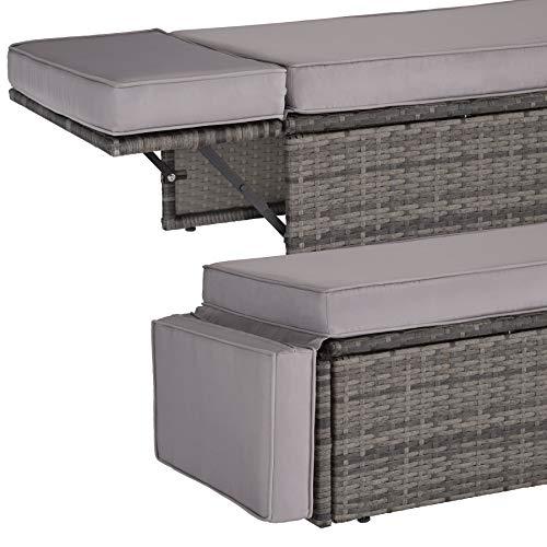 TecTake 800884 Poly Rattan Lounge Set, 2-Sitzer Sofa mit Rückenlehne, großer Hocker mit klappbarer Stütze, inkl. Dicke Auflagen, Gartenmöbel Set für Garten & Terrasse (Grau | Nr. 403884) - 6