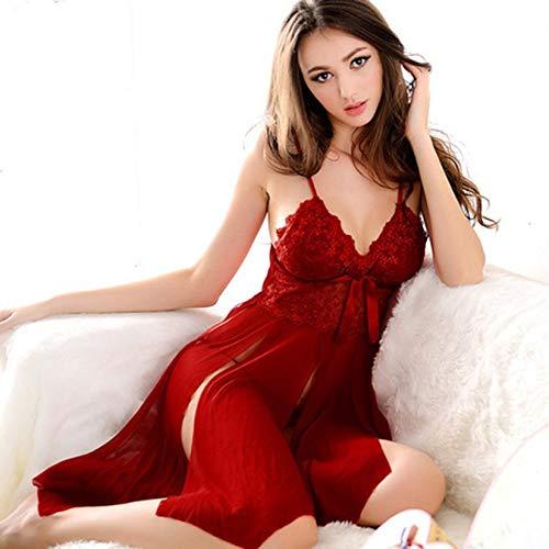 European Fashion Plug Größe Sexy Frauen Lace Erotic Dessous Kleid Ladies Night Party Valentinstag Sexy Night Dress Kostüme - Rot