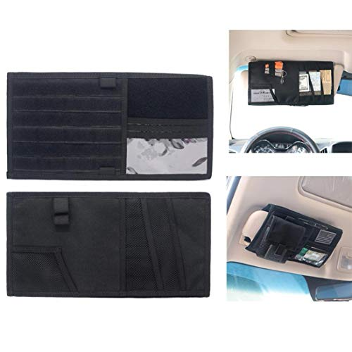 LIVIQILY Tactical Molle Vehicle Visor Panel Car Sun Visor Organizer Holder Storage Bag Pouch for Most Vehicle (Black)
