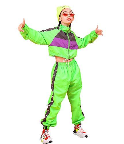 Conjunto de Ropa de Hip Hop para niñas de 3 Piezas, Traje de Baile Callejero para niños, Chaleco Recortado, Chaqueta Verde Fluorescente y Pantalones de chándal (Verde, 8-9 años)
