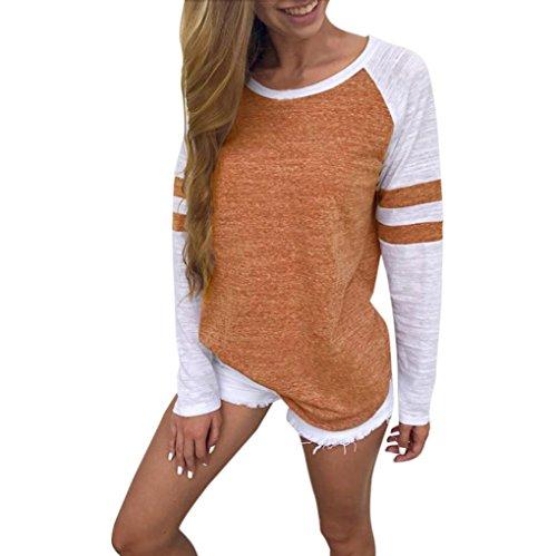 OVERDOSE Mode Damen Frauen Rundhals Lange Hülsen Spleiß Blusen Oberseiten Kleidung T-Shirt Tops Pullover (XL, Orange)