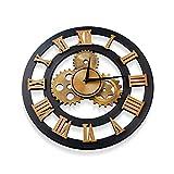 Lrxinki - Reloj de pared silencioso vintage, 38 cm, de madera, estilo industrial, vintage, diseño decorativo, silencioso, mecanismo, reloj de pared de cocina, salón, chimenea