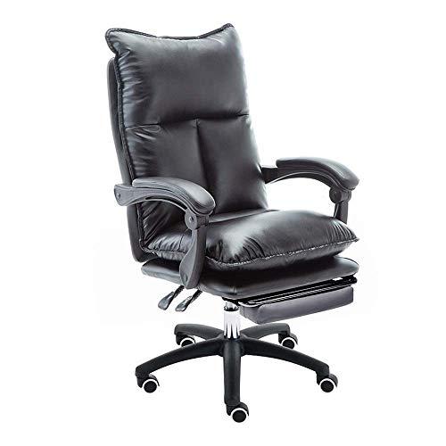 WSDSX Stuhl Leder Schreibtisch Gaming Stuhl, mit Fußstütze Ergonomische hohe Rückenlehne Büro Computer Stuhl Tragfähigkeit: 330 Pfund, schwarz