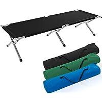 TRESKO Cama Plegable de Camping XL | Camilla para Acampar | catre portátil para Invitados | Tumbona para Exterior e Interior | 190 x 64 x 44 cm - soporta hasta 150 kg, Bolsa de Transporte (Negro)