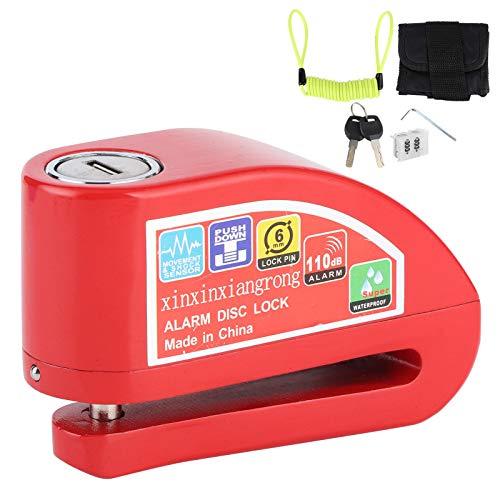 zhuolong Kit de Bloqueo de Freno de Disco Impermeable 110dB Protección de Alarma de Seguridad antirrobo para Motocicleta y Bicicleta(Rojo)