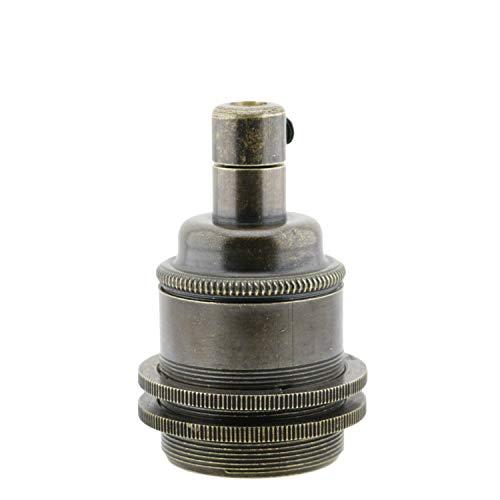 Portalampada a vite Edison (E27) in ottone massiccio con finitura anticata con 2 anelli per paralumi per l'uso su lampade, pendenti o lampadari Portalampada E27 con impugnatura in metallo
