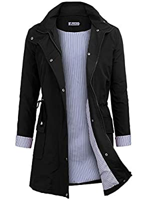 Twinklady Rain Jacket Women Windbreaker Striped Climbing Raincoats Waterproof Lightweight Outdoor Hooded Trench Coats Black M