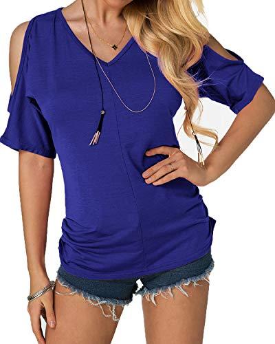 YOINS Schulterfrei Oberteil Damen Sommer Oberteile Frauen Bluse Elegant Kurzarm Tops für Damen Carmen Shirt Rundhals Einfarbig Blau EU46