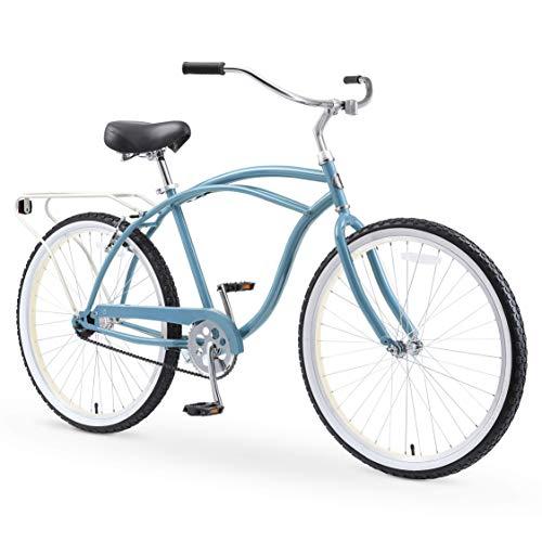 sixthreezero Around The Block Men's 26' Single Speed New Beach Cruiser Bicycle with Rear Rack, Steel Cloud