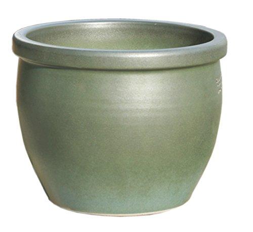 Hentschke Keramik Pflanztopf/Pflanzkübel frostsicher Ø 35 x 29 cm, Tropic grün, 076.035.10 Blumenkübel für Draußen + Innen - Made in Germany