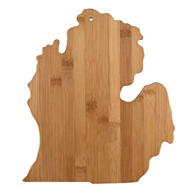"""Totally Bamboo State Cutting & Serving Board – """"MICHIGAN"""" ♻ 100% Organic Bamboo Cutting Board, Extremely Strong and Durable Perfect for Cooking, Entertaining, Décor and Gift Set. Designed in USA"""