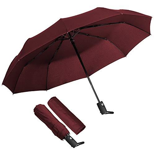 KASTEWILL Paraplu Opvouwbare Winddichte Zakelijke Paraplu Storm Teflon Waterbestendige Parasol UV-bescherming Volledig Automatische Paraplu Draagbaar Weerbestendige Parasol en Paraplu - Rood