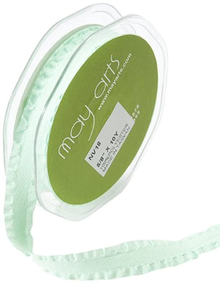 May Arts 5/8-Inch Wide Ribbon, Seafoam Faux Suede with Ruffled Edge