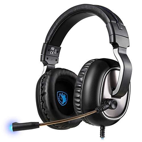 YHLZ Gaming Headset, Casque de Jeu stéréo 3,5 mm-auriculaire Casque avec Microphone réglable Volume de Commande Noise Cancelling for PC Portable Smart Phone