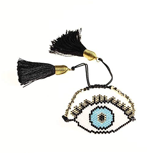 Bracelet Women Turkish Evil Eye Bracelets Tassel Handmade Loom Woven Summer Beach Jewelry Bracelet Length 17 Cm