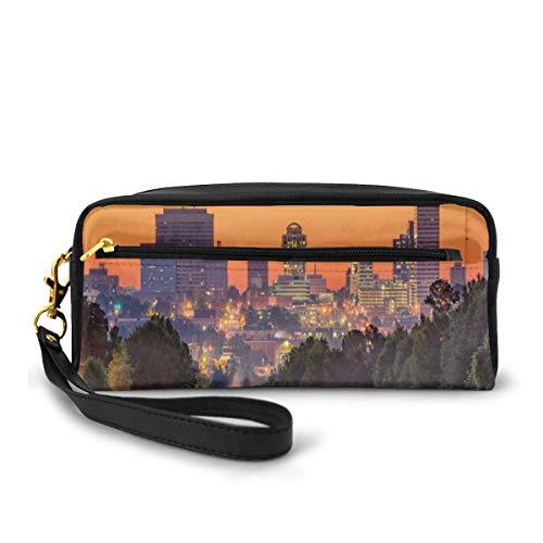 Pencil Case Pen Bag Pouch Stationary,Skyline of Columbia City South Carolina Main Street Urban Scene,Small Makeup Bag Coin Purse