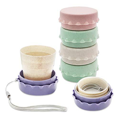 Paquete de 6 mini tazas plegables con tapa de plástico, 100 ml, tazas de camping plegables, reutilizables y portátiles, juego de taza de viaje para picnic, senderismo al aire libre, viajes