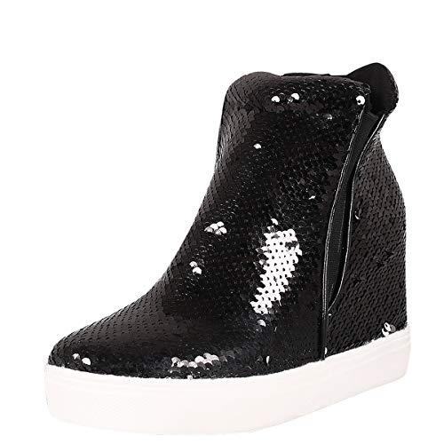 Cape Robbin Womens Round Toe Sequined Shoes Hidden Wedge Heel Platform Sneaker Ankle Booties Boot 9 Black