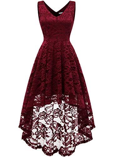 MuaDress 6666 Damen Kleid Ärmellose Cocktailkleider Knielang Abendkleider Elegant Spitzenkleid V-Ausschnitt Asymmetrisches Brautjungfernkleid Dunkelrot S