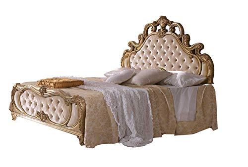 LIGNEMEUBLE TALY Lacado Marfil y Dorado, Dormitorio Barroco: La Cama 180 x 200 cm